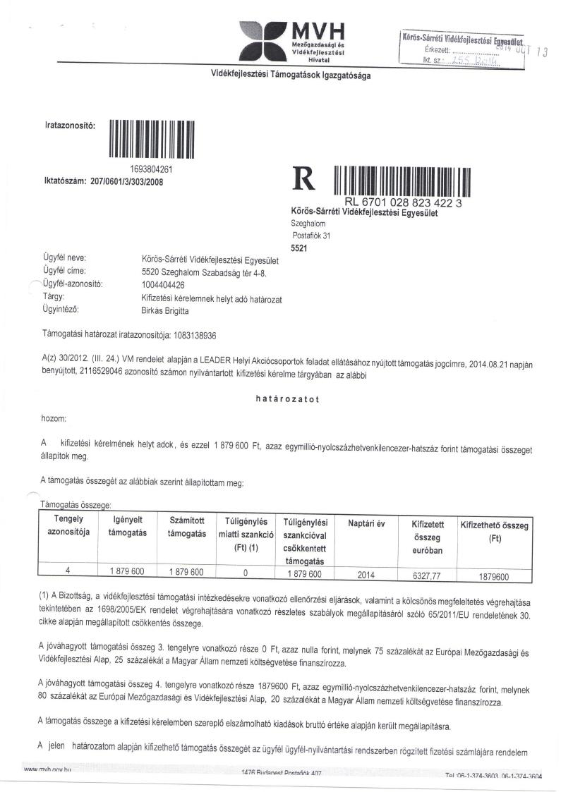 Körös-Sárrét Vidékfejlesztési Egyesület Működési költségek 2014.07