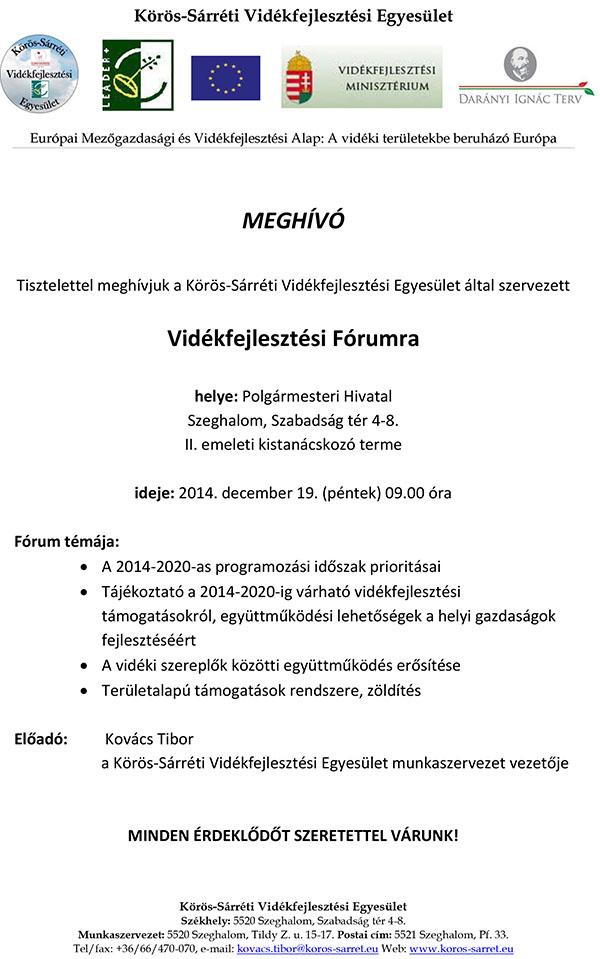 6d1d5f90eb Meghívó Vidékfejlesztési fórumra - Körös-Sárréti Vidékfejlesztési ...