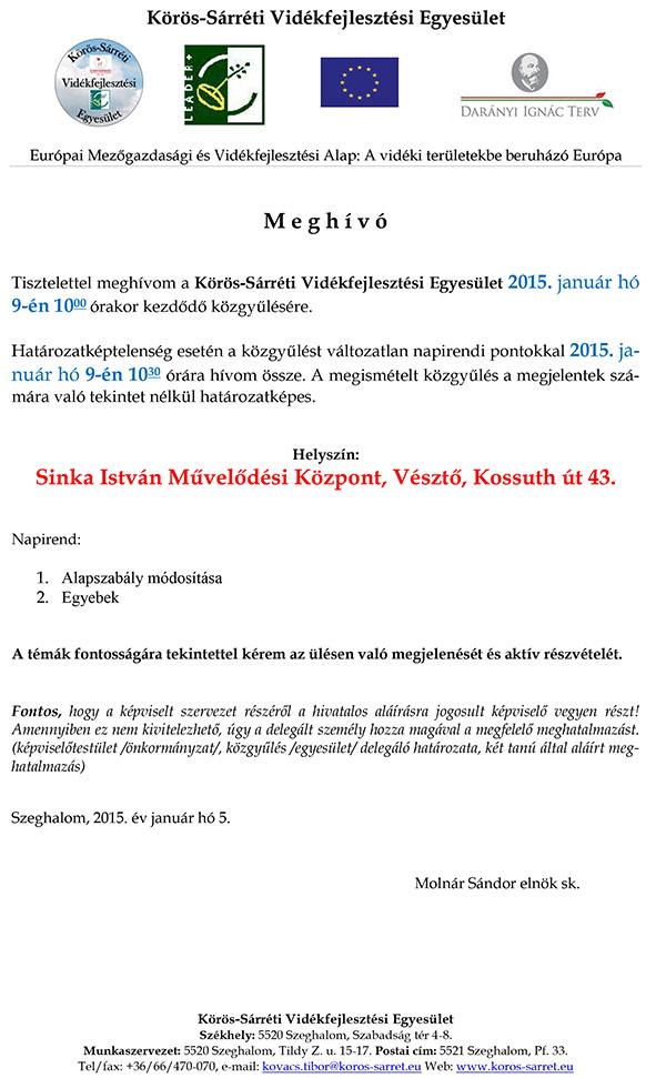 7c4a1c49be Közgyűlés meghívó - Körös-Sárréti Vidékfejlesztési Egyesület