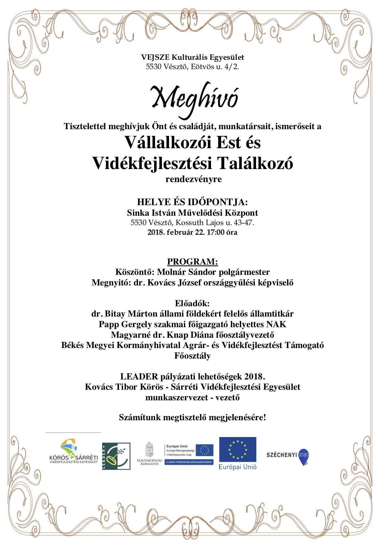 2a352bc107 Meghívó vállalkozói estre - Körös-Sárréti Vidékfejlesztési Egyesület
